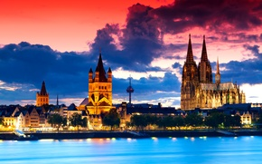Picture the sky, clouds, sunset, the city, Gothic, the evening, Germany, panorama, architecture, vintage, Cologne Cathedral, …