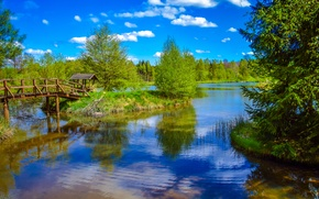 Picture forest, the sky, grass, the sun, clouds, trees, bridge, river, gazebo, island