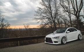 Picture road, white, the sun, trees, white, wheels, drives, mitsubishi, tuning, lancer, sun, Lancer, low, evo …