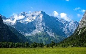 Picture the sky, trees, mountains, valley, meadow