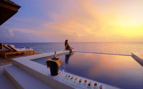 Picture sea, freedom, girl, sunset, pool, calm, champagne, Sunset, WateкSuite Exterior