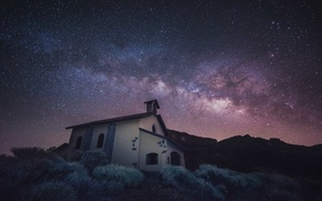 Wallpaper space, stars, mountain, Church, The Milky Way