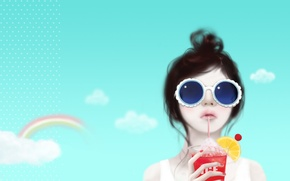 Wallpaper hairstyle, rainbow, sunglasses, lemon, reverie, Enakei, cocktail, girl, clouds, the sky, tube