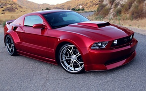 Wallpaper Red, Tuning, Wide Body Kit, Rims, Ford Mustang GT