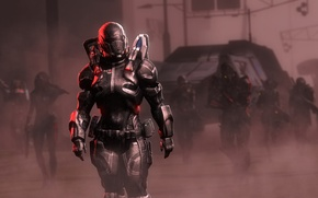 Picture girl, weapons, the game, helmet, armor, squad, Shepard, mass, effect