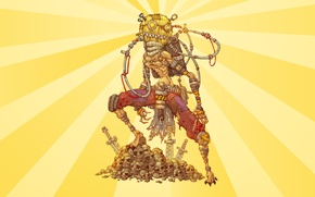 Picture steampunk, skull, cyborg, yellow background, postapokalipsis, Scarecrow, rags