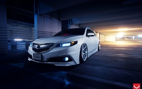 Picture Car, Front, White, Tuning, Acura, Vossen, Wheels, TLX, Nigth