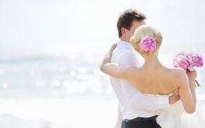 Wallpaper flowers, wedding, sea, pair, girl, guy