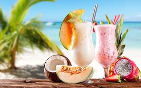Picture sea, beach, coconut, strawberry, pineapple, beach, sea, melon, strawberry, melon, pineapple, coconut, milkshakes, milkshakes