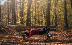 Picture autumn, bench, sneakers, athlete, Leslie