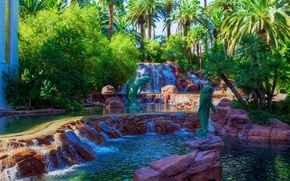 Picture greens, design, Park, stones, palm trees, waterfall, Las Vegas, USA, cascade, the bushes