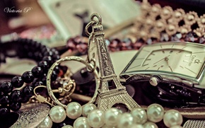 Picture decoration, Paris, watch, perfume, pearl, keychain, accessories, Calvin Klein, keychains