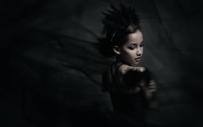 Picture girl, bokeh, Black Swan