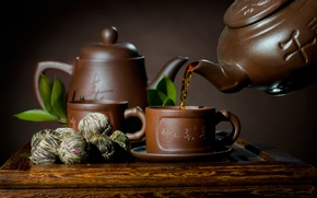 Picture tea, kettle, Cup, saucer, leaves, welding