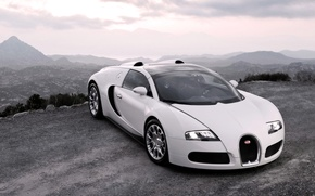 Picture Auto, White, Bugatti, The hood, Veyron, Lights, Suite, Sports car