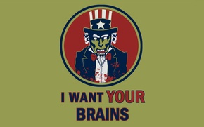 Picture zombies, I want your brains, uncle Sam