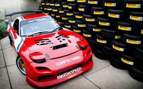 Picture tires, red, Mazda, red, a lot, tuning, Mazda, RX-7