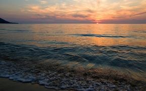 Wallpaper the sun, sunset, shore, Sea, calm