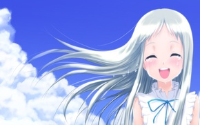 Picture the sky, clouds, smile, tears, Anime, long hair, white hair, sundress, Unprecedented flower, Menma, Ano …