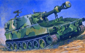 Picture gun, art, installation, American, paladin, self-propelled, paladin, mark, artillery, SAU, the crew, caliber, howitzers, self-propelled, ...