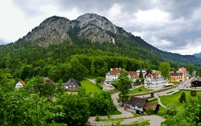 Picture forest, trees, landscape, mountains, home, Germany, Schwangau
