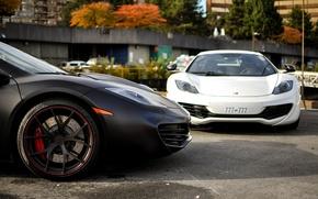 Picture white, black, before, supercar, white, supercar, black, front, rim, McLaren, mp4, Mclaren, 12c