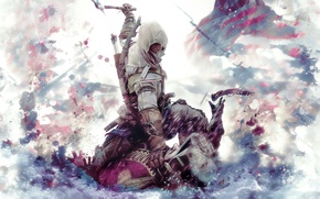 Picture gun, blood, flag, soldiers, hood, axe, the battle, Assassin's creed, Assassin`s Creed 3