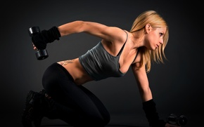 Picture chest, pose, body, Girl, tattoo, blonde, dumbbells