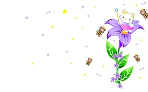 Picture art, stars, bee, Hello Kitty, magic wand, children's, kitty