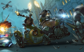 Picture bike, Junkrat, Jamison Fawkes, oadhog, Mako Rutledge, road, motorcycle, the bandits, criminals, junkers, overwatch, police, ...