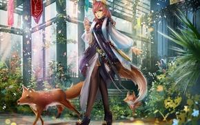 Picture animals, girl, the building, plants, petals, art, Fox, ears, liu
