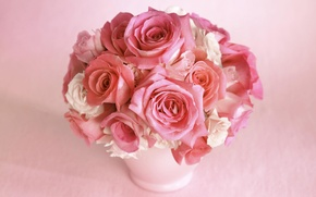 Picture vase, flowers, gently, bouquet, roses, flower, rose, color, pink, petals, beautiful, buds