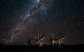 Picture stars, The milky way, galaxy, radio telescope