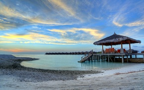 Picture sand, sea, the sky, clouds, sunset, stones, shore, the evening, The Maldives, Bungalow