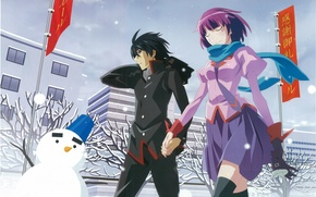 Picture winter, snow, street, snowman, flags, walk, date, students, Bakemonogatari, Koyomi Araragi, History of monsters, Hitagi …