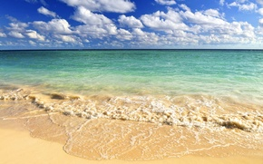Picture wave, The ocean, the sky, beach, clouds, sand