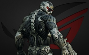 Picture Crysis, red, gun, logo, game, soldier, weapon, grey, New York, man, nanosuit, Asus, rifle, suit, ...