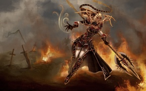 Picture weapons, janna, art, destruction, warrior, armor, league of legends, swords, girl, fiction, fire