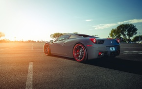 Picture Ferrari, 458, Sun, Color, Grey, Back, Italia, Supercar, Wheels, Giovanna