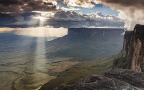 Picture the sun, clouds, rays, Mountains, plateau