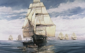 Wallpaper The sky, Water, Sea, Figure, People, Ship, Sailboat, Sails, Frigate, The bowsprit, Boat, The Mizzen-Mast, ...