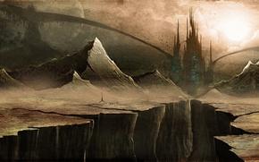 Picture mountains, castle, open, art