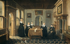 Picture picture, genre, Dirk van Delen, Interior with Five Ladies