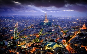 Picture France, lighting, home, panorama, Paris, the city, lights, capital, view, tower, night, Eiffel, building