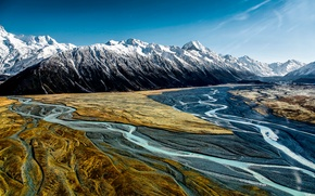 Picture the sky, mountains, National Park, Aoraki Mount Cook, Hooker Valley
