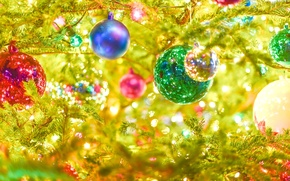 Picture color, balls, glare, reflection, holiday, branch, paint, toys, new year, lights, tree, garland, brightness, reflections