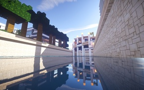Picture The sky, Water, Reflection, The building, Minecraft