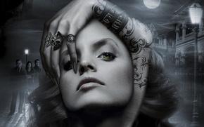 Picture dark, Mena Suvari, sake, moon, horror, sky, green eyes, woman, clouds, series, tattoo, supernatural, evil, …