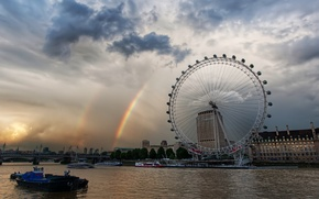 Picture London, rainbow, carousel, Thames, London-ay
