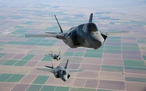 Picture flight, fighters, three, bombers, generation, fifth, Lightning II, F-35B